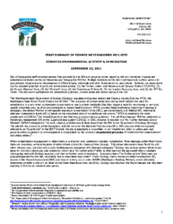 Environmental Activity and Remediation Staff Summary 09-22-2011